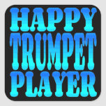 Happy Trumpet Player Square Sticker