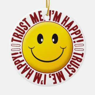 Happy Trust Smiley Round Ceramic Decoration