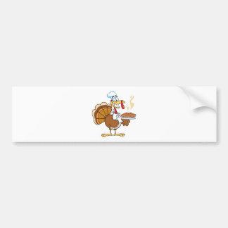 Happy Turkey Chef With Pie Car Bumper Sticker