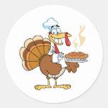 Happy Turkey Chef With Pie Classic Round Sticker