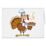 Happy Turkey Chef With Pie Greeting Card