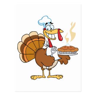 Happy Turkey Chef With Pie Postcards