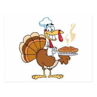 Happy Turkey Chef With Pie Postcard