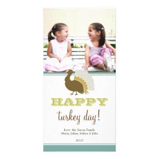 Happy turkey day blue green custom Thanksgiving Photo Greeting Card