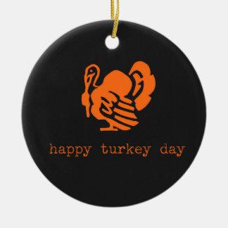 Happy Turkey Day Color Chalkboard Ceramic Ornament