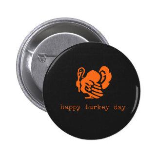 Happy Turkey Day Color Chalkboard Pinback Button