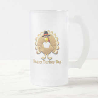 Happy Turkey Day Frosted Glass Beer Mug