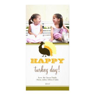 Happy turkey day orange green custom Thanksgiving Custom Photo Card