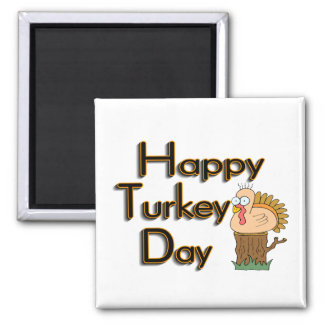 Happy Turkey Day Thanksgiving 2 Inch Square Magnet