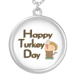 Happy Turkey Day Thanksgiving Silver Plated Necklace