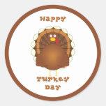 Happy Turkey day Thanksgiving Classic Round Sticker