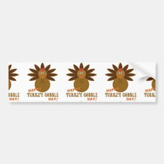 Happy Turkey Gobble Day Thanksgiving Car Bumper Sticker