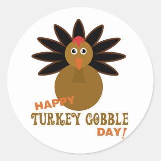 Happy Turkey Gobble Day Thanksgiving Classic Round Sticker