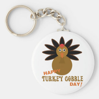 Happy Turkey Gobble Day Thanksgiving Keychain