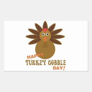 Happy Turkey Gobble Day Thanksgiving Rectangular Sticker