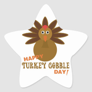 Happy Turkey Gobble Day Thanksgiving Star Sticker