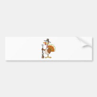 Happy Turkey With Pilgrim Hat and Musket Bumper Sticker