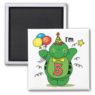 Happy Turtle 5th Birthday 2 Inch Square Magnet