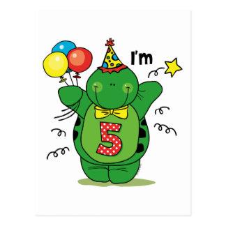 Happy Turtle 5th Birthday Postcard