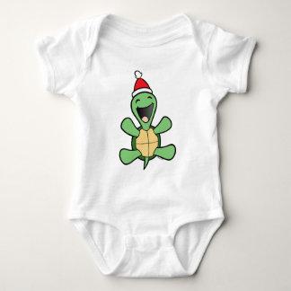 Happy Turtle Christmas Baby Bodysuit