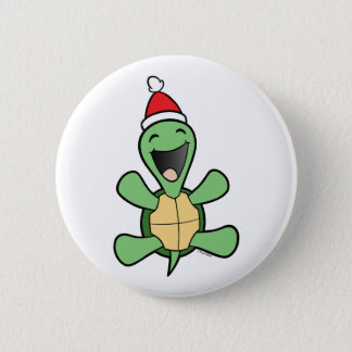 Happy Turtle Christmas Button