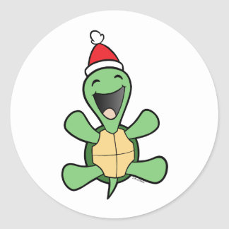 Happy Turtle Christmas Classic Round Sticker