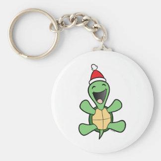 Happy Turtle Christmas Keychain