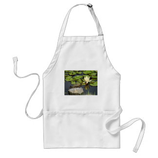 Happy Turtle in a Lily Pond Adult Apron