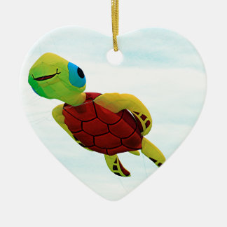Happy turtle kite flying ceramic ornament