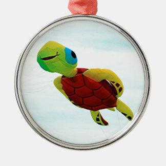 Happy turtle kite flying metal ornament