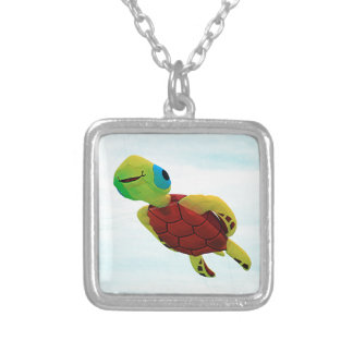 Happy turtle kite flying silver plated necklace