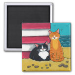 Happy Tuxedo and Tabby Cat on the Beach 2 Inch Square Magnet