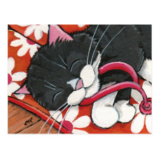 Happy Tuxedo Cat Asleep on a Pair of Flip Flops Postcard
