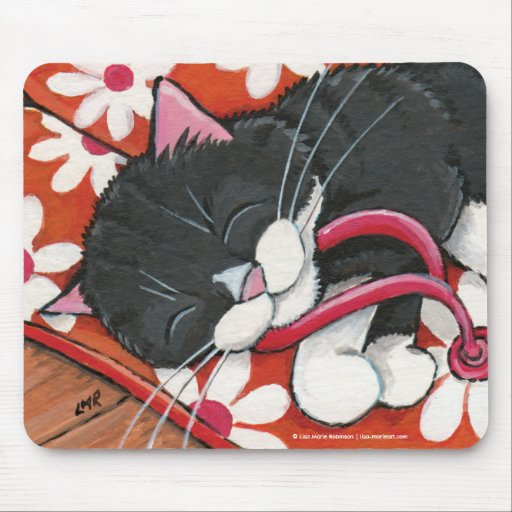 Happy Tuxedo Cat Asleep on Flip Flops Mousepad