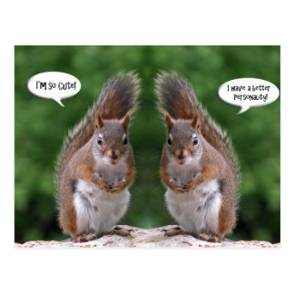 Happy Twins Day, Red Squirrel Humor, Cute and Pers Postcard