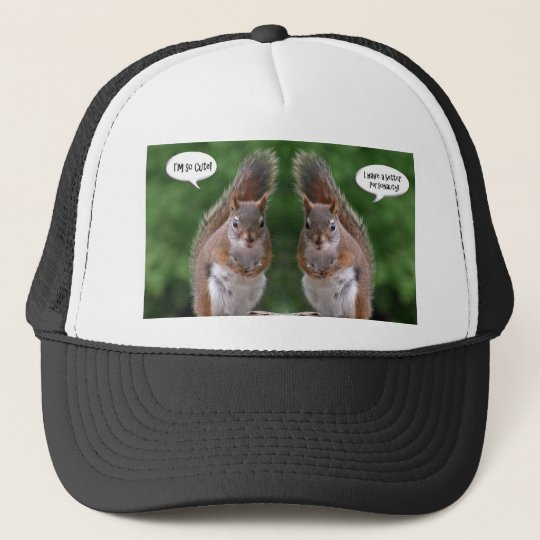 Happy Twins Day, Red Squirrel Humor, Cute and Pers Trucker Hat
