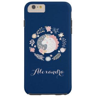 Happy Unicorn Cute Personalized Navy Tough iPhone 6 Plus Case