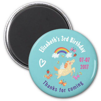 Happy Unicorn with Rainbow Clouds Birthday Thanks Magnet