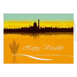 Happy Vaisakhi, Cityscape Silhouette in India Card