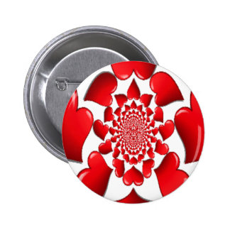 Happy Valentine Big Red Hearts Pinback Buttons