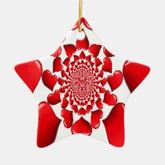 Happy Valentine Big Red Hearts Ceramic Ornament