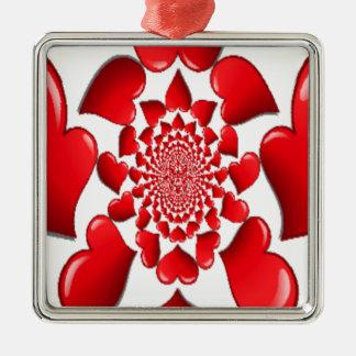 Happy Valentine Big Red Hearts Metal Ornament