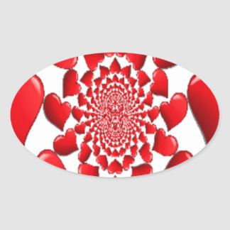 Happy Valentine Big Red Hearts Oval Sticker