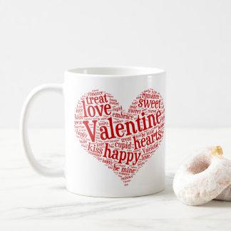 Happy Valentine Coffee Mug with Word Mosaic