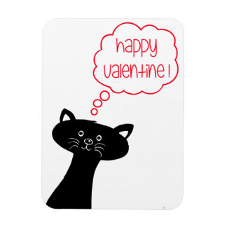 Happy Valentine! Cute Black Cat Photo Magnet