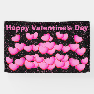 Happy Valentine Day Pretty Pink Heart Clusters Banner