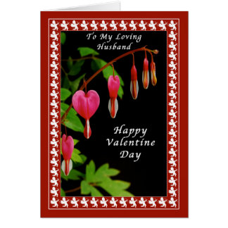 Happy Valentine Day To My Husband, Bleeding Hearts Card