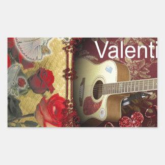 Happy Valentine day Tunes in my heart Rectangular Sticker