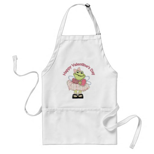 Happy Valentine Frog with Heart Adult Apron