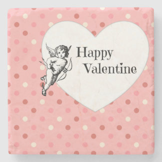 Happy Valentine heart polka dots pink illustration Stone Coaster